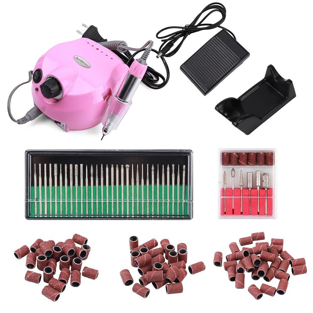 35000RPM Pink Pro Electric Nail Art Drill Machine Nail Equipment Manicure Pedicure Files Electric Manicure Drill