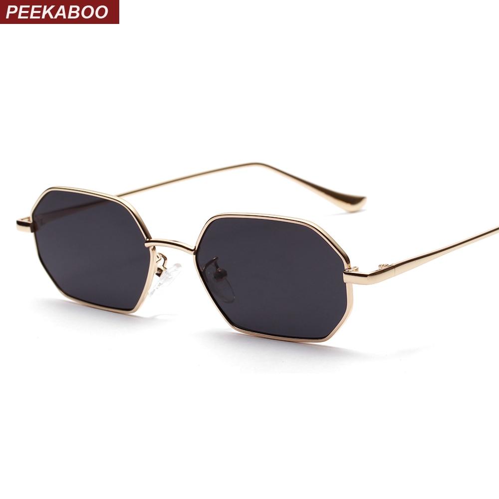 Peekaboo Rectangle Sunglasses Metal-Frame Polygon Red Lens Small Unisex Women Uv400 Gold