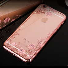 Crystal Flora Diamond Flower Case for iphone 7 6S 5S 4S Slim Soft Luxury Ultra Thin Clean Soft TPU Case cover for iphone 7 plus