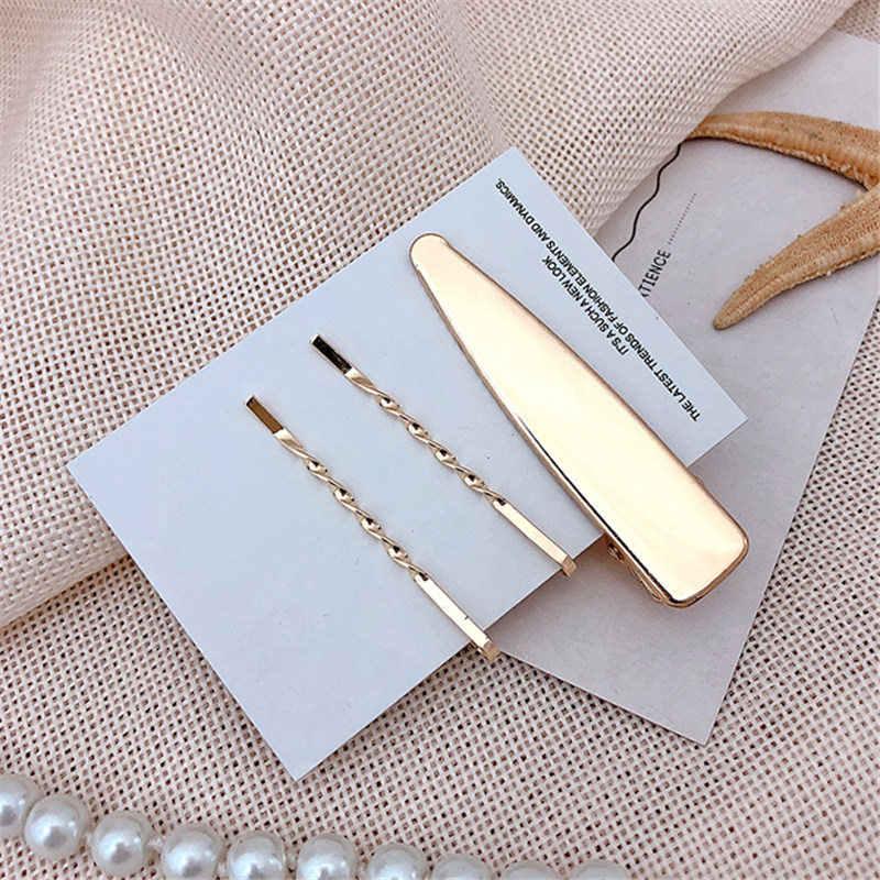 Korea Metal Minimalist Hair Accessories Geometric Irregular Gold Color Hair Clip Imitiation Pearl Hairpin Barrettes Hairgrip