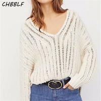 CHBBLF women elegant knitted sweaters long sleeve hollow out pullovers female casual loose tops DFJ6273