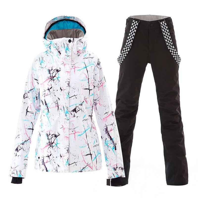 SMN combinaison de neige pour femmes tenue de sport en plein air costume de Ski imperméable coupe-vent ensembles de snowboard vestes de Ski et bavoir pantalon de neige