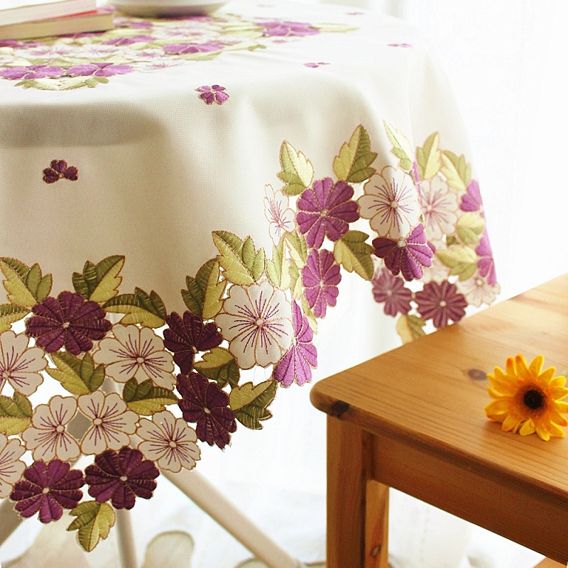 YR007 Multi Size Europe pastoral luxury embroidered fabric wedding home round table cloth sidetable cover with purple flowers