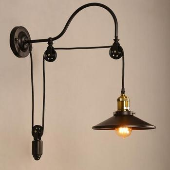 vintage Loft Antique iron Wall lamp Lift Retractable Pulley Wall Sconce Lighting for bedside Bar Cafe Light 110-240V