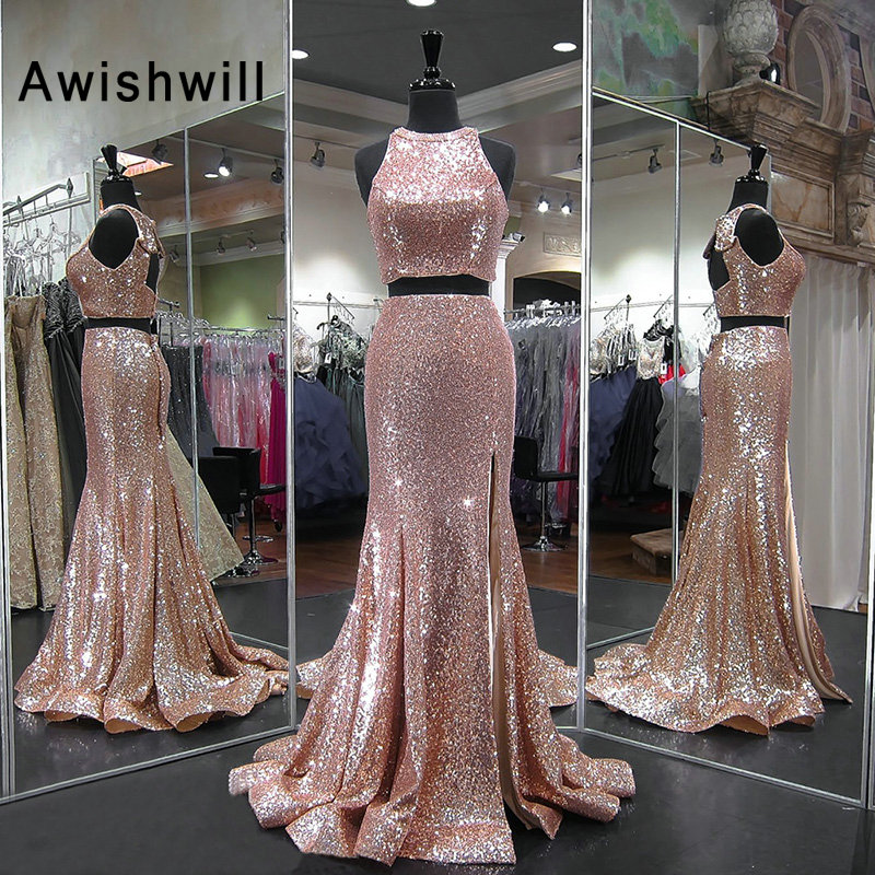Gorgeous Mermaid Sequin Evening Dress Formal Gown for Women Floor Length African Backless Two Piece Prom Dresses High Slit