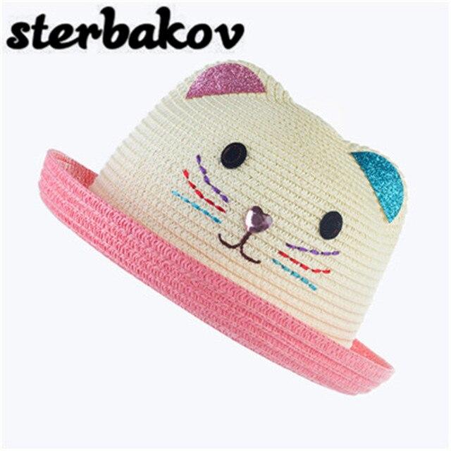 Оптовая продажа новая детская шапка летняя детская кошачьи уши уха украшения Симпатичные Пляжные шляпы для девочек Девочка Мальчик Sun Hat Chapeau