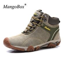 Mangobox 2017 Зима Mountain Обувь Мужские ботинки высокая Одежда высшего качества Для мужчин Охота Ботинки Обувь на теплом меху Mountain Пеший Туризм Ботинки Для мужчин