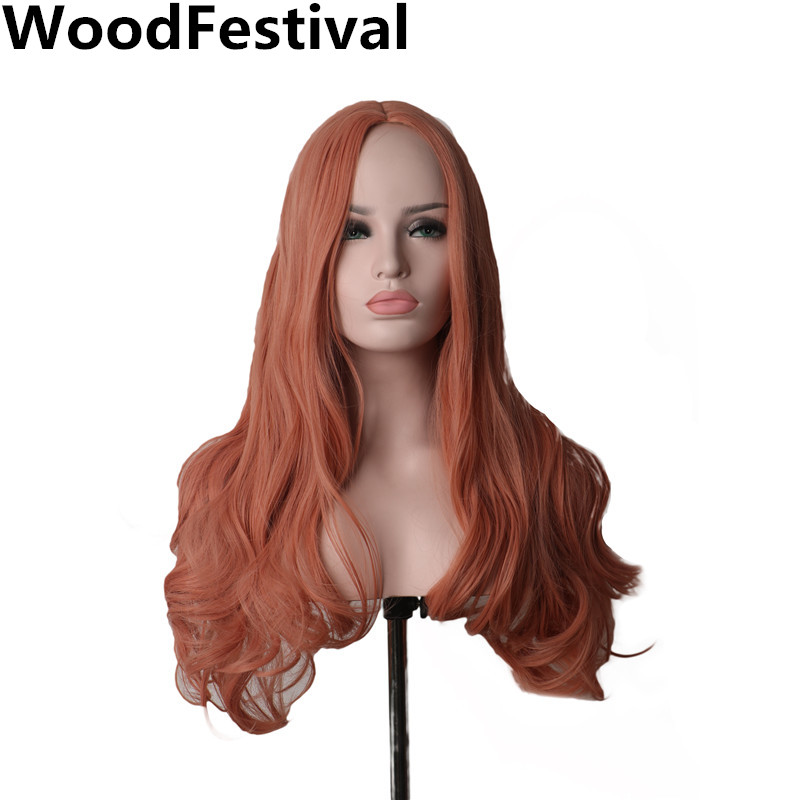 WoodFestival High Temperature Fiber Hair Party Cosplay Long Synthetic Wig Curly Mix color Orange Pink Wigs for Women 24inch