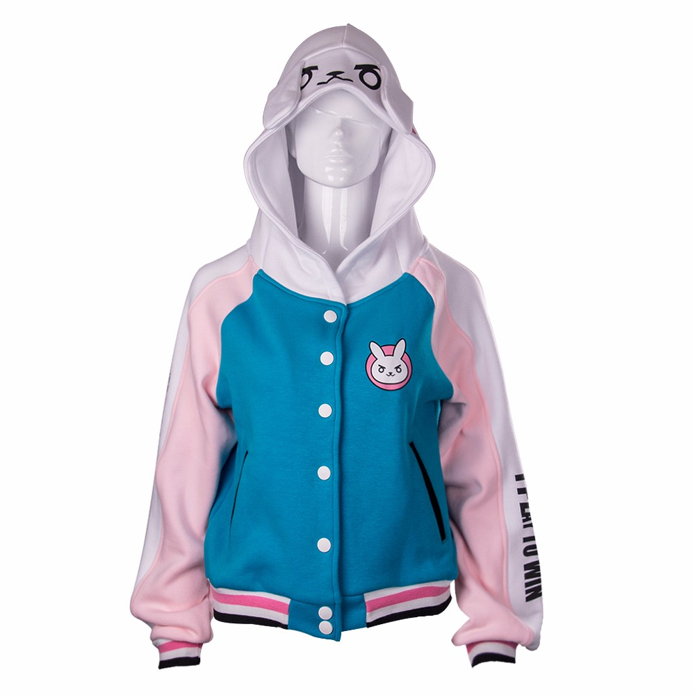 D.va Costume OW Sweatshirts Cotton Hoodies Baseball Coats Dva Autumn Clothes Winter Jackets For Women Coat Halloween Party