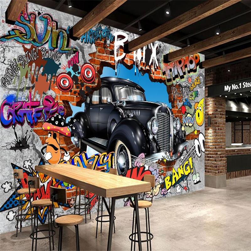 Beibehang wallpaper mural wallpaper 3d 3d retro graffiti for Car wallpaper mural