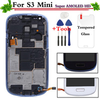 Blue White Super AMOLED LCD Replacement for Samsung Galaxy S3 Mini i8190 LCD Display Touch Screen Digitizer With Frame Assembly