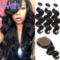 Iwish Brazilian Body Wave With Closure 3 Bundles Body Wave Hair With Closure Brazilian Virgin Human Hair Weft With Closure 1B