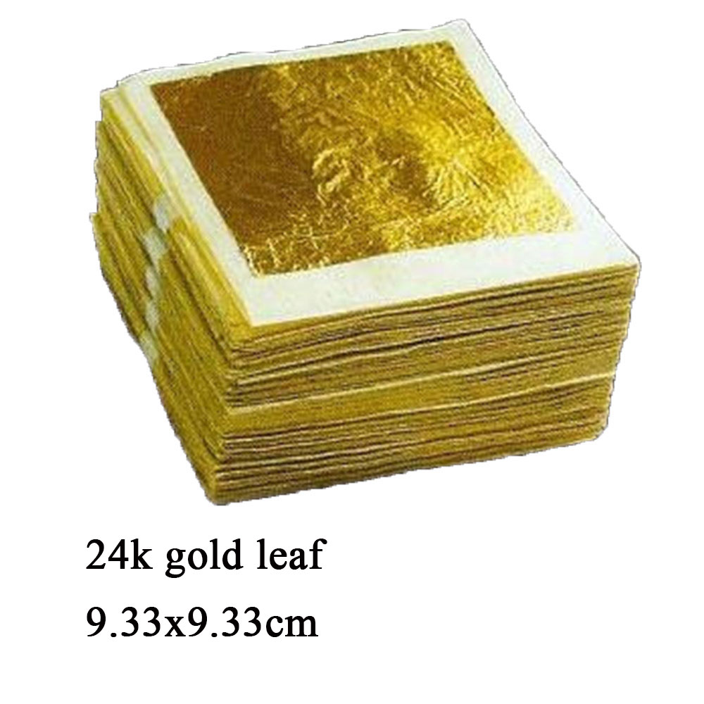 100 24K pure edible gold real /genuine gold foil / leaves , gilding sheets , 9.33*9.33cm , craft mask SPA , free shipping
