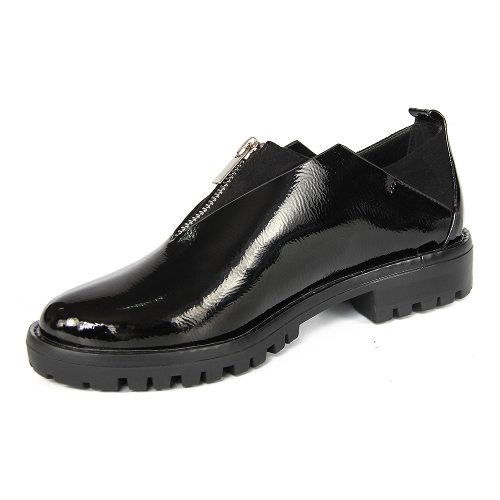 XAXBXC 2018 春新オックスフォード光沢のあるパテントレザージッパー女性プラットフォームは、カジュアルな手作り浅い女性女性の靴  グループ上の 靴 からの レディースパンプス の中 2