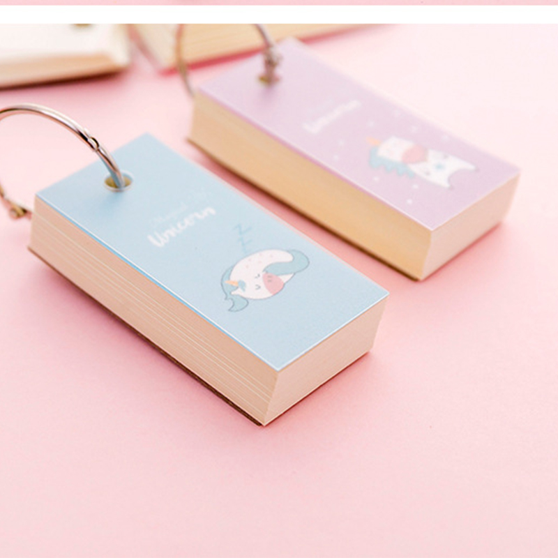 Unicorn Memo Note Binder Ring Easy Flip Flash Cards Study Memo Pads Iron Ring  Student Mini Portable Word Book  DIY Random Color