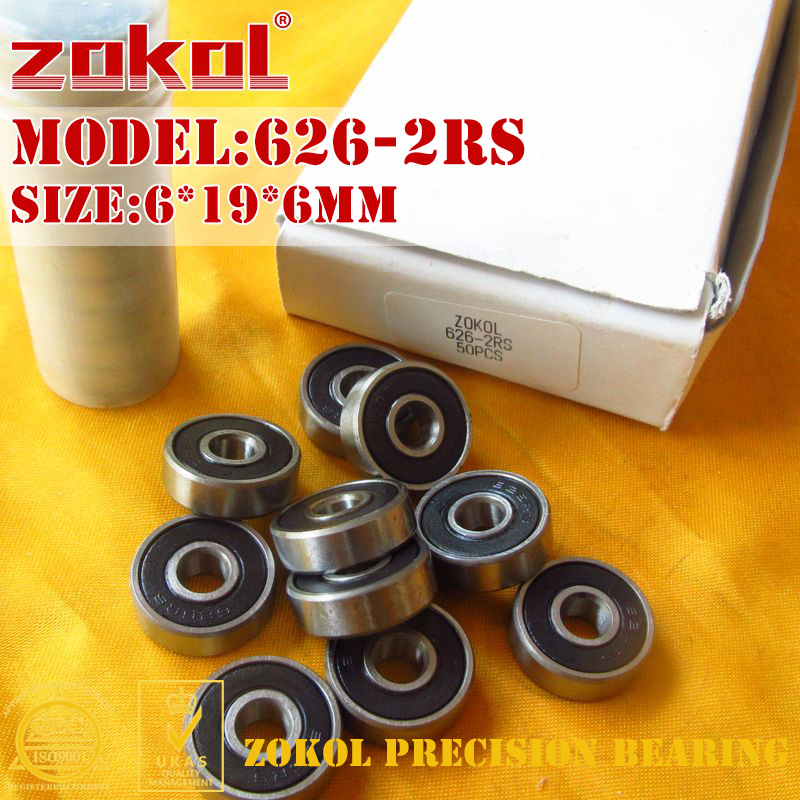 6x19x6 mm BLACK 626-2RS Rubber Sealed Ball Bearing 50 PCS 6*19*6 626RS