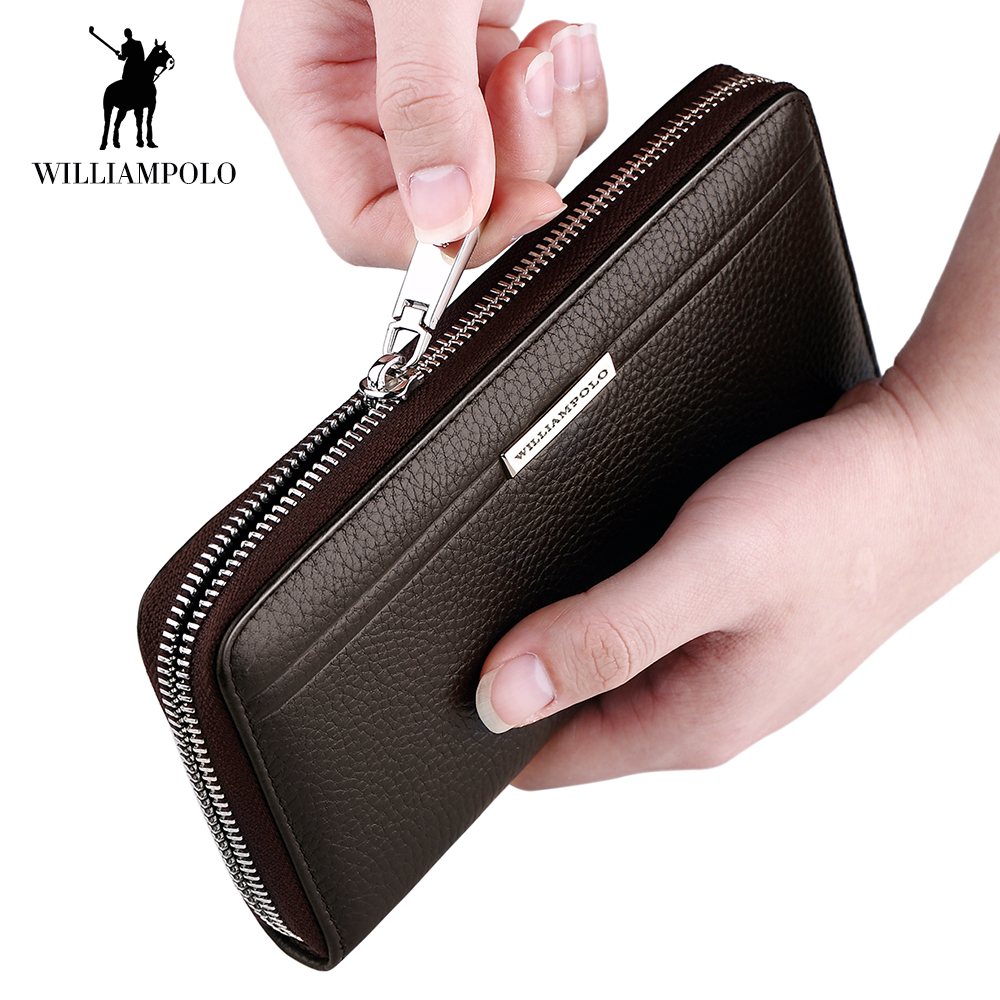 WilliamPOLO Long Clutch Wallet Men Credit Card Holder Genuine Leather Handbag Phone Purse Multi Card Case with Zipper Pocket 54