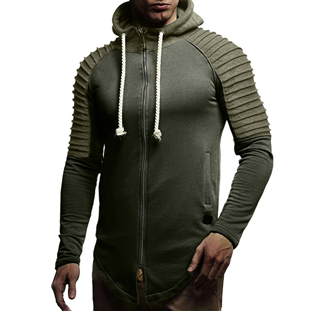 FeiTong Jacket Man 2018 Autumn Winter Long Sleeve Patchwork Zipper Hoodie Pullover Blouse Tops Windbreaker Winter Jacket Men