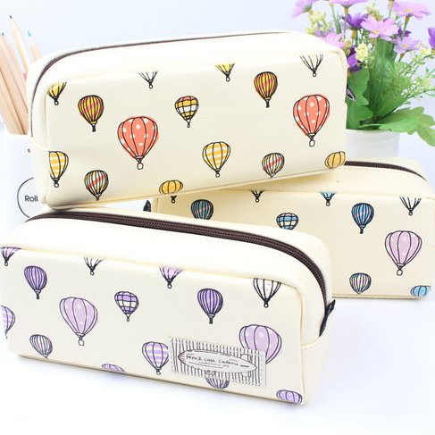 1 Pcs Simple Creative Hot Air Balloon Pencil Case Large Capacity Leather Pen Bag Sweet Stationery School Supplies 043