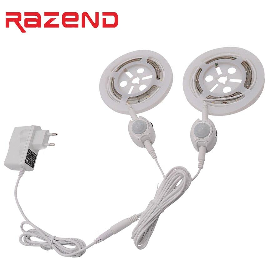 PIR Motion Sensor LED Bande Fita De Led Luz Étanche Intelligent Led Night Light Blanc Chaud Unique/Double Lit Lampe Kit nouveau
