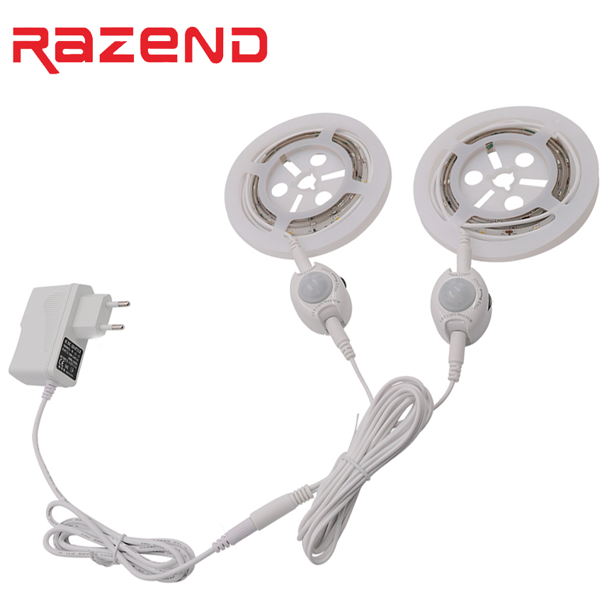 PIR Motion Sensor LED Strip Fita De Led Luz Waterproof Intelligent Led Night Light Warm White Single/Double Bed Lamp Kit New