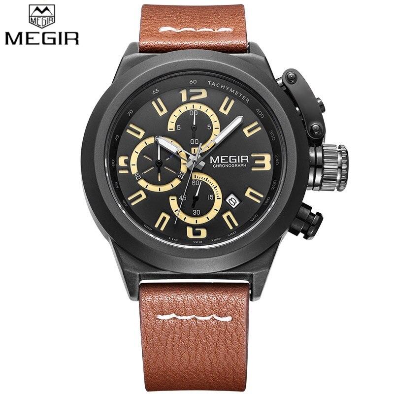 Megir Men's Sports Chronograph Wristwatches Luminous Hands Fashion Date Brown Leather Casual Military Quartz Watch Montre Homme