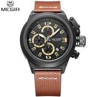 Relojes de pulsera deportivos con cronógrafo Megir para hombre  relojes de pulsera luminosos con manos a la moda  reloj de pulsera de cuarzo militar informal de cuero marrón para hombre|watch quarz|watches nice|watch shock -