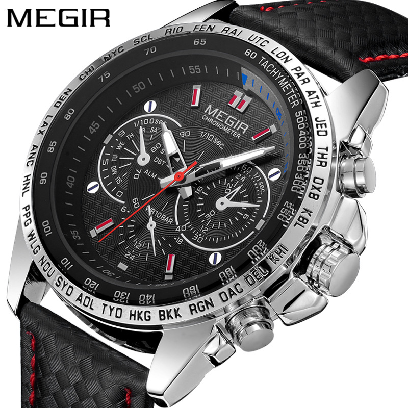 MEGIR Mens Watches Top Luxury Brand Male Clocks Military Army Sport Clock Leather Strap Business Quartz Men Watch Gift Box 1010