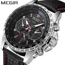ساعات رجالي من MEGIR ساعات رجالي ماركة فاخرة جدا ساعة عسكرية رجالية رياضية حزام جلد عملية كوارتز ساعة معصم رجالية 1010