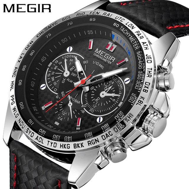 6fda5cde921a9 MEGIR رجّالي ساعات أعلى العلامة التجارية الفاخرة الذكور الساعات العسكرية  الجيش رجل رياضة ساعة جلدية حزام