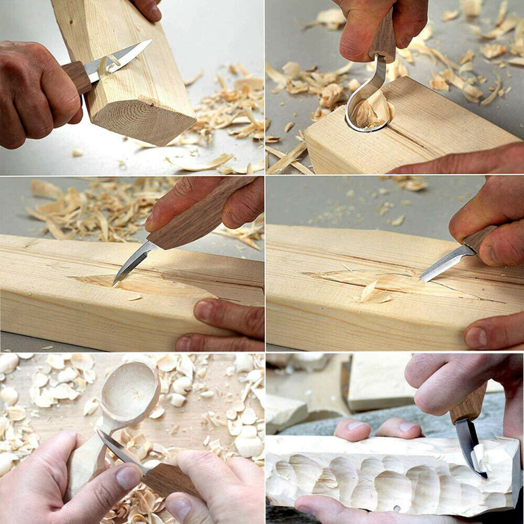 5pc Woodworking Carving Knife Bending Straight Knife + Anti-cutting Gloves Wood Carving Tool Chisel Woodworking Hand Tools