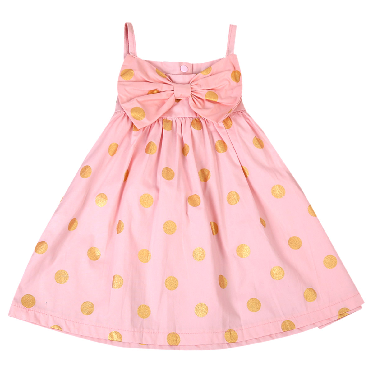 pudcoco 2017 Toddler Kids Baby Girls Cute Big Bowknot Golden Dots Sundress Summer Pageant Princess Party