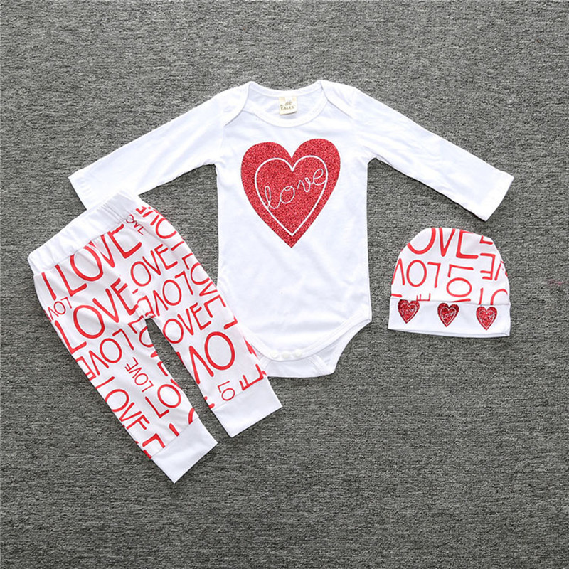 Valentine's Day Baby Girls Clothing Set Long Sleeve White Heart Bodysuit Harm Pants Hat 3pcs Toddler Kids Clothes Letter Print V-Day Baby Clothes (7)