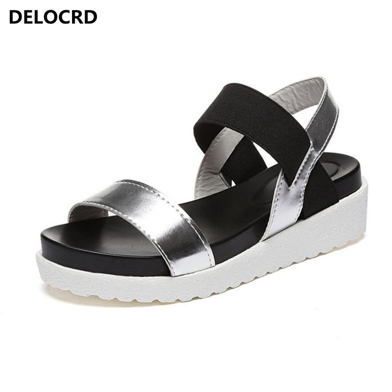 Summer Sandals Shoes Footwear Flip-Flops Peep-Toe Women Ladies for New Roman Mujer