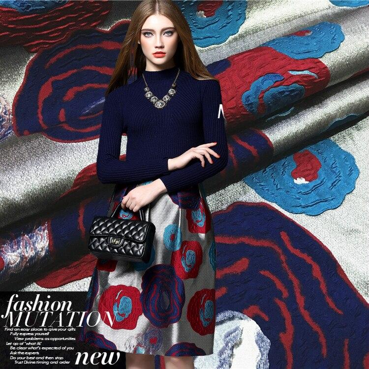 Abstrait fleurs jacquard tissu robe enfant manteau saisons haute couture tissu en gros jacquard polyester tissu tissu