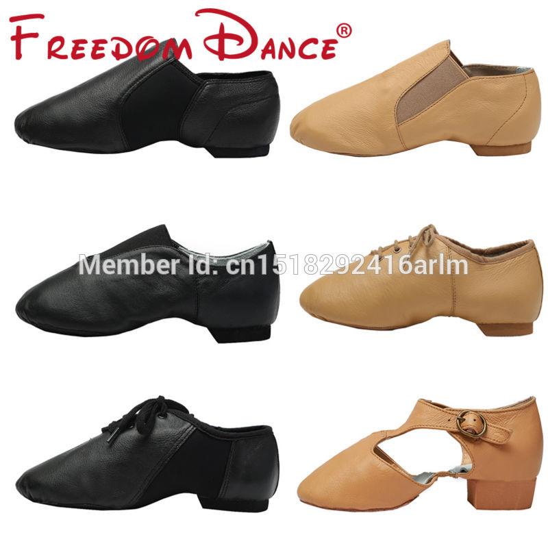 עור אמיתי נעלי ג'אז דאנס חדש נעלי ספורט נעלי ריקודים לנשים גברים שחור טאן ורוד צבעים ספורט בלט ג'אז דאנס נעליים