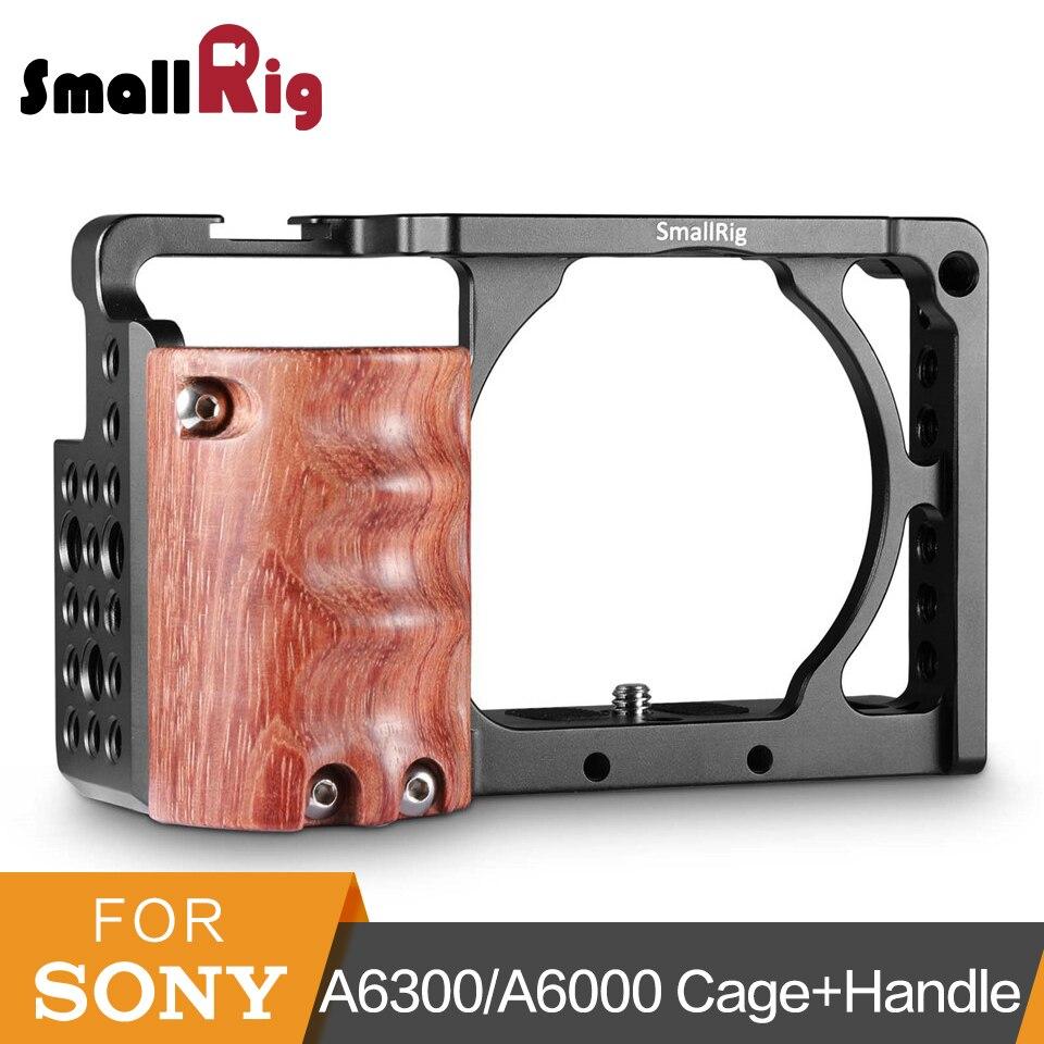 Cage de caméra SmallRig a6300 avec poignée en bois pour Sony A6000/A6300 Kit de Cage de caméscope DSLR Cage en alliage d'aluminium-2082