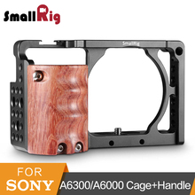 SmallRig Aluminum Alloy Camera Cage With Wooden Handgrip For Sony A6000/A6300 To Mount Baseplate ILDC Camcorder Cage Kit -2082