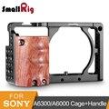 SmallRig a6300 клетка для камеры с деревянной ручкой для Sony A6000/A6300 DSLR Camcorder Cage Kit клетка из алюминиевого сплава-2082