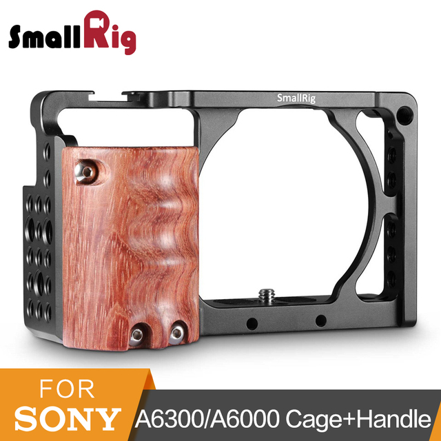 SmallRig a6300 Camera Cage With Wooden Handgrip For Sony A6000/A6300 DSLR Camcorder Cage Kit Aluminum Alloy Cage -2082