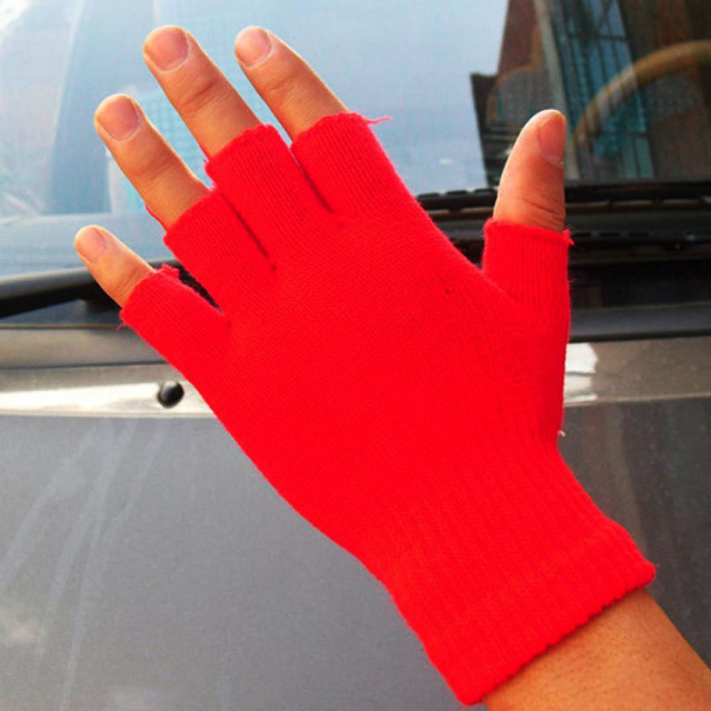 Unisex Knitted Stretch Elastic Warm Half Finger Fingerless Gloves Men Women glove for Winter