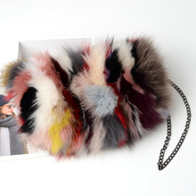 2019 New Luxury Real Fur bags Women colorful fox fur bag female winter plush Chain Clutch envelope Messenger bag winter pink causal tote bag fashion fur handbags for women made by whole pieces fur clutch bag plush puffy vest bag furry bucket