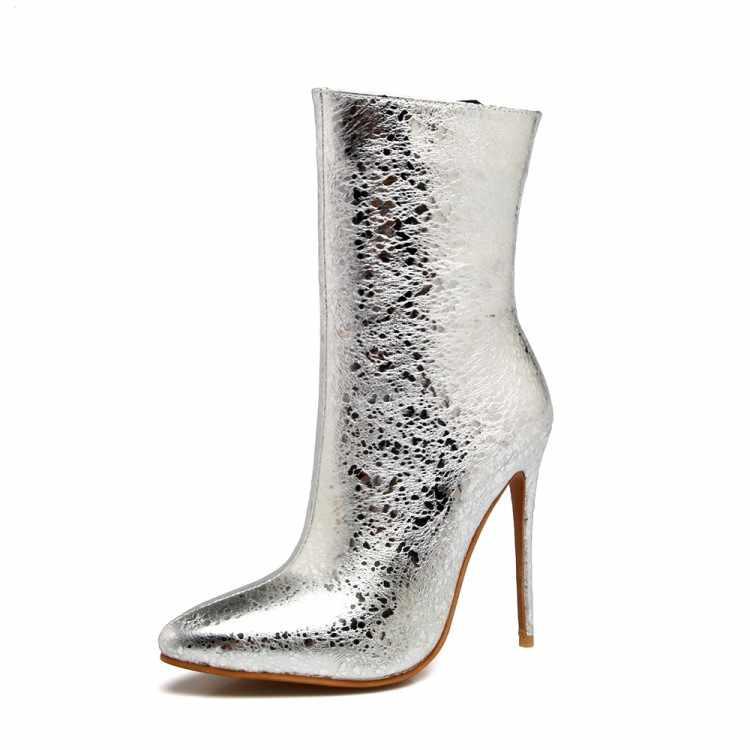 Orijinal Amaçlı Seksi Kadın yarım çizmeler Sivri Burun Ince Yüksek Topuklu Çizmeler Siyah Mavi Gümüş kırmızı ayakkabılar Kadın Artı ABD Boyutu 3 -16
