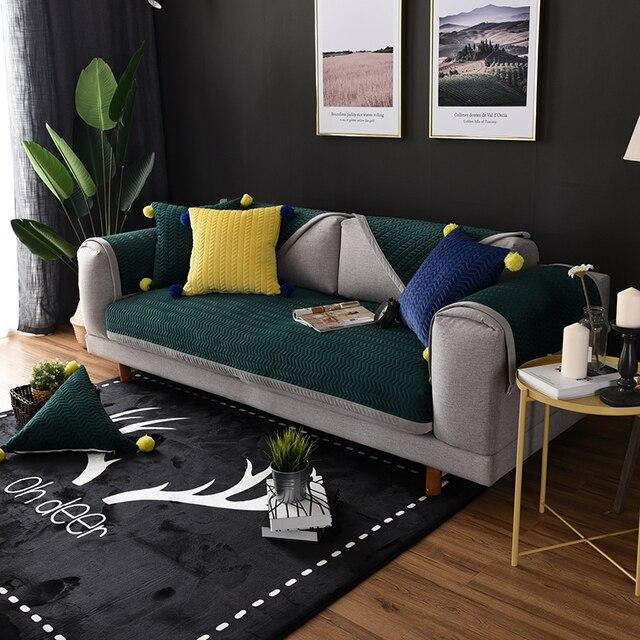 US $11.3 40% OFF|Winter Velvet L Shape Sofa Towel Thickened Anti slip  Corner Sofa Covers Dark Green Quilted Sofa Slipcover Corner Loveseat  Cover-in ...