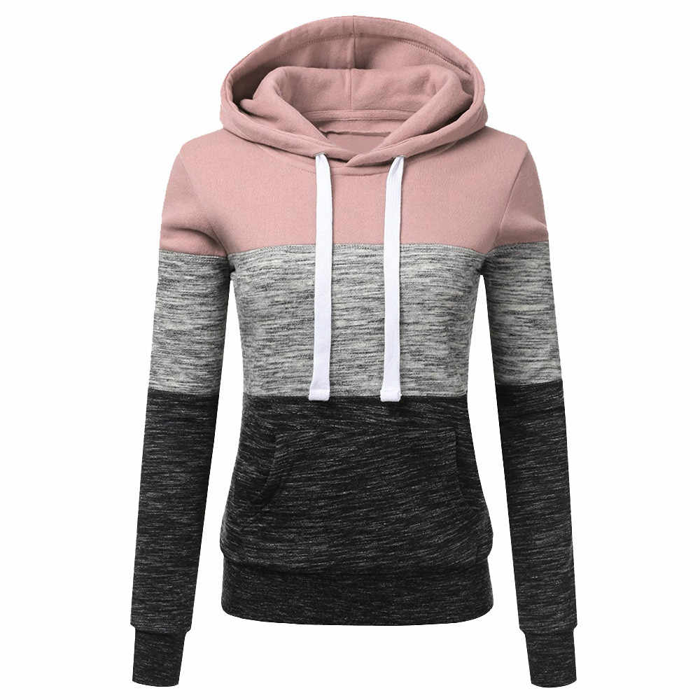 Hoodies Women Sweatshirts Fashion Womens Casual Hoodies Sweatshirt Patchwork Ladies Hooded Pullover Women Clothing Sweats Warm