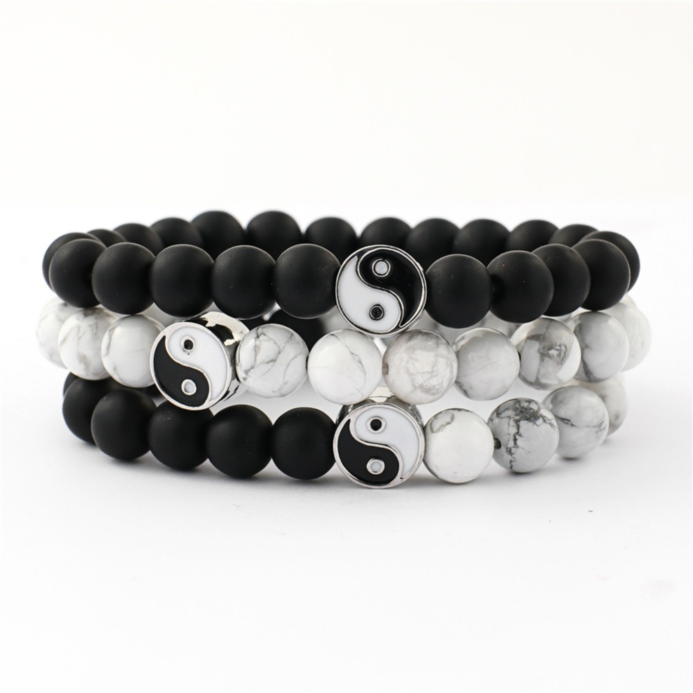 Distance Bracelet Classic Natural Stone White and Black Yin Yang Beaded Bracelets for Men Women Best Friend Drop Shipping image