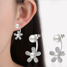 Everoyal Trendy 925 Sterling Silver Earrings For Women Accessories Zircon Flower Girl Earring Pearl  Jewelry Female Bijou