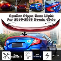 LED ABS Spoiler Wing With Rear Brake Lamp Tail Light Trunk Led Accessories For Honda For Civic 2016 2017