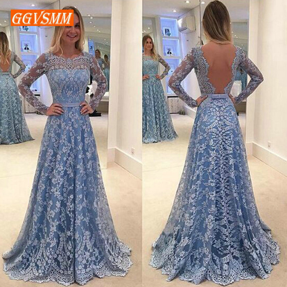 Fashion Blue Lace   Evening     Dresses   Long 2019 Sexy   Evening   Gowns Women Scoop Backless A-Line Floor-Length Lady Club Party   Dress