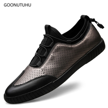 Fashion mens casual shoes genuine leather four season new platform breathable for men work & driving loafers man big size